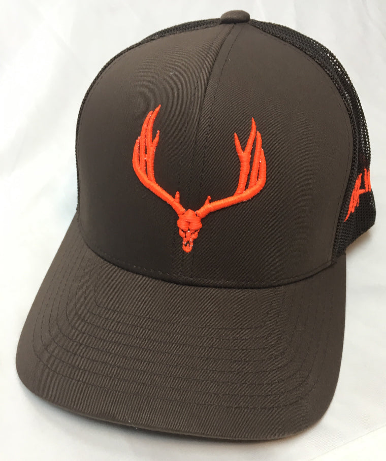 Buck Wild Muley Logo on Brown With Neon Orange Snap Back Hat