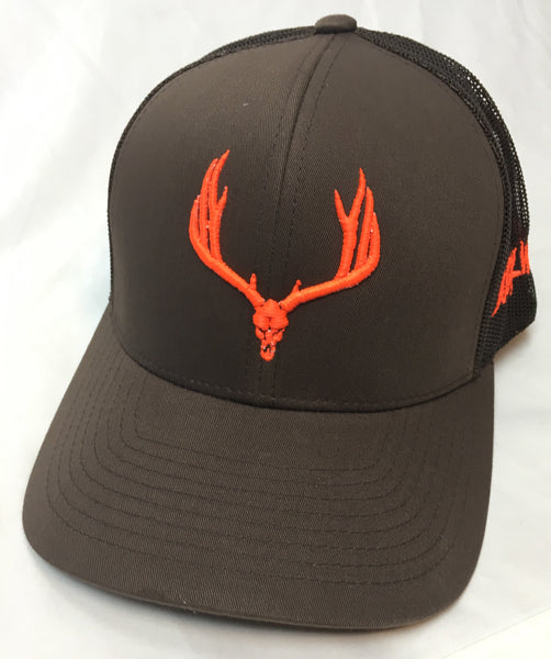Buck Wild Muley Logo on Brown With Neon Orange Snap Back Hat - Dirty Doe & Buck Wild ,hunting apparel,camo,girls that hunt,huntress, buck wild,deer shirts,buck shirts,country shirt,country girl shirts, amazon,cabelas,bass pro shop,sportmans,