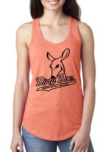 Dirty Doe  Racer Back Peach Tank Top Black Logo or Blue Logo - Dirty Doe & Buck Wild ,hunting apparel,camo,girls that hunt,huntress, buck wild,deer shirts,buck shirts,country shirt,country girl shirts, amazon,cabelas,bass pro shop,sportmans,