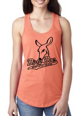 Dirty Doe Orange Racer Back Tank Top - Dirty Doe & Buck Wild ,hunting apparel,camo,girls that hunt,huntress, buck wild,deer shirts,buck shirts,country shirt,country girl shirts, amazon,cabelas,bass pro shop,sportmans,
