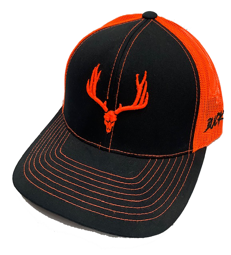 Buck Wild  Neon Orange Snap Back Hat in Black or Charcoal Gray