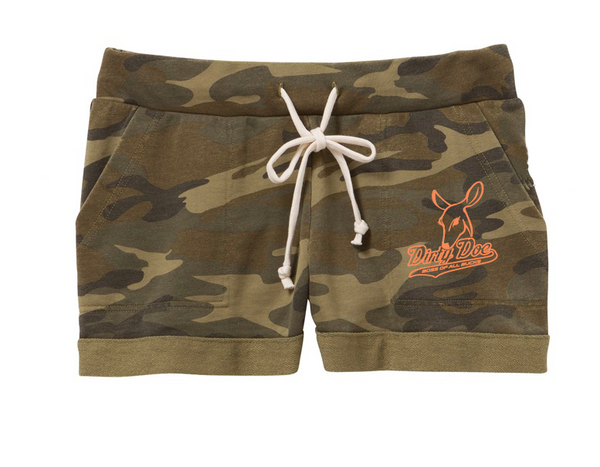 Dirty Doe & Buckwild Camo Lounge Shorts - Dirty Doe & Buck Wild ,hunting apparel,camo,girls that hunt,huntress, buck wild,deer shirts,buck shirts,country shirt,country girl shirts, amazon,cabelas,bass pro shop,sportmans,