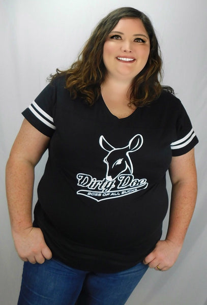 Dirty Doe Black Jersey Collection - Dirty Doe & Buck Wild ,hunting apparel,camo,girls that hunt,huntress, buck wild,deer shirts,buck shirts,country shirt,country girl shirts, amazon,cabelas,bass pro shop,sportmans,