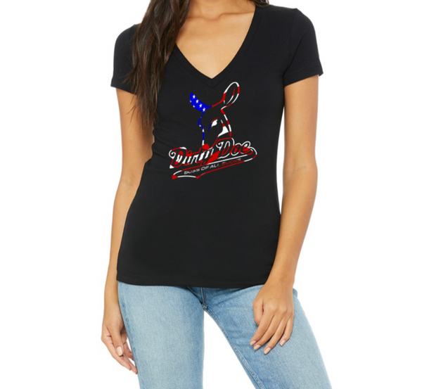 Dirty Doe Patriotic Black V-Neck T-shirt