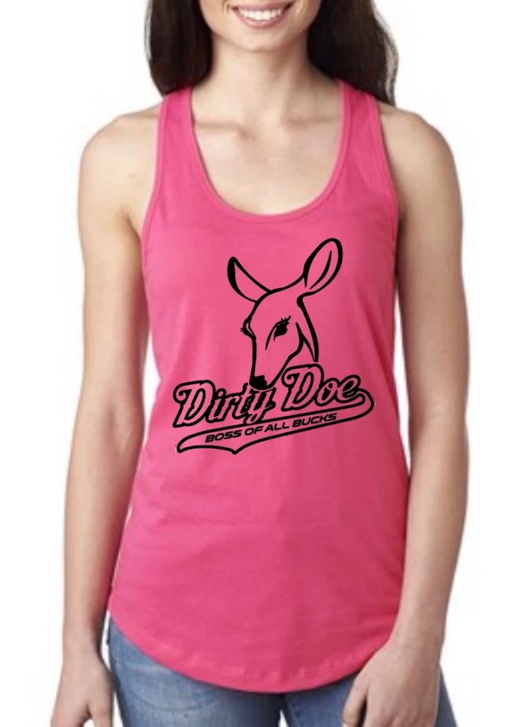 Dirty Doe Pink Racer Back Tank Top with black logo or blue logo