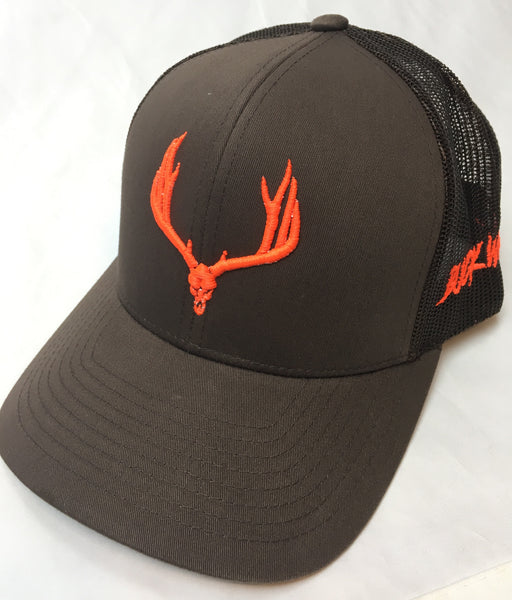 Buck Wild Muley Logo on Brown With Neon Orange Snap Back Hat - Dirty Doe & Buck Wild