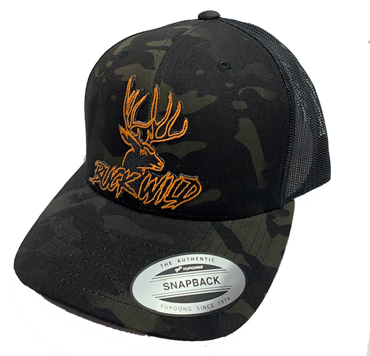 Buckwild Black Camo  Patch SnapBack Hats / Orange Buckwild Logo & Green Buckwild Logo