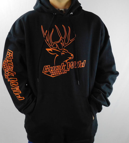Buck Wild Black Hoodie With Orange Logo - Dirty Doe & Buck Wild ,hunting apparel,camo,girls that hunt,huntress, buck wild,deer shirts,buck shirts,country shirt,country girl shirts, amazon,cabelas,bass pro shop,sportmans,