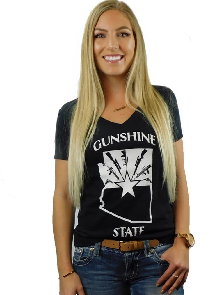 Gunshine State shirt - Dirty Doe & Buck Wild ,hunting apparel,camo,girls that hunt,huntress, buck wild,deer shirts,buck shirts,country shirt,country girl shirts, amazon,cabelas,bass pro shop,sportmans,