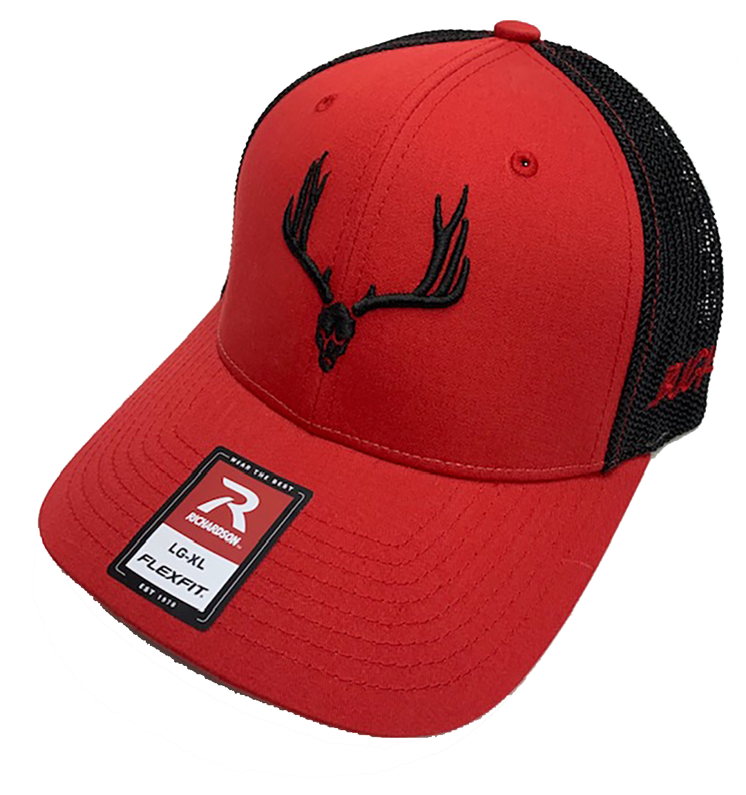 Buckwild Red With Black Logo Flexfit Hat - Dirty Doe & Buck Wild ,hunting apparel,camo,girls that hunt,huntress, buck wild,deer shirts,buck shirts,country shirt,country girl shirts, amazon,cabelas,bass pro shop,sportmans,