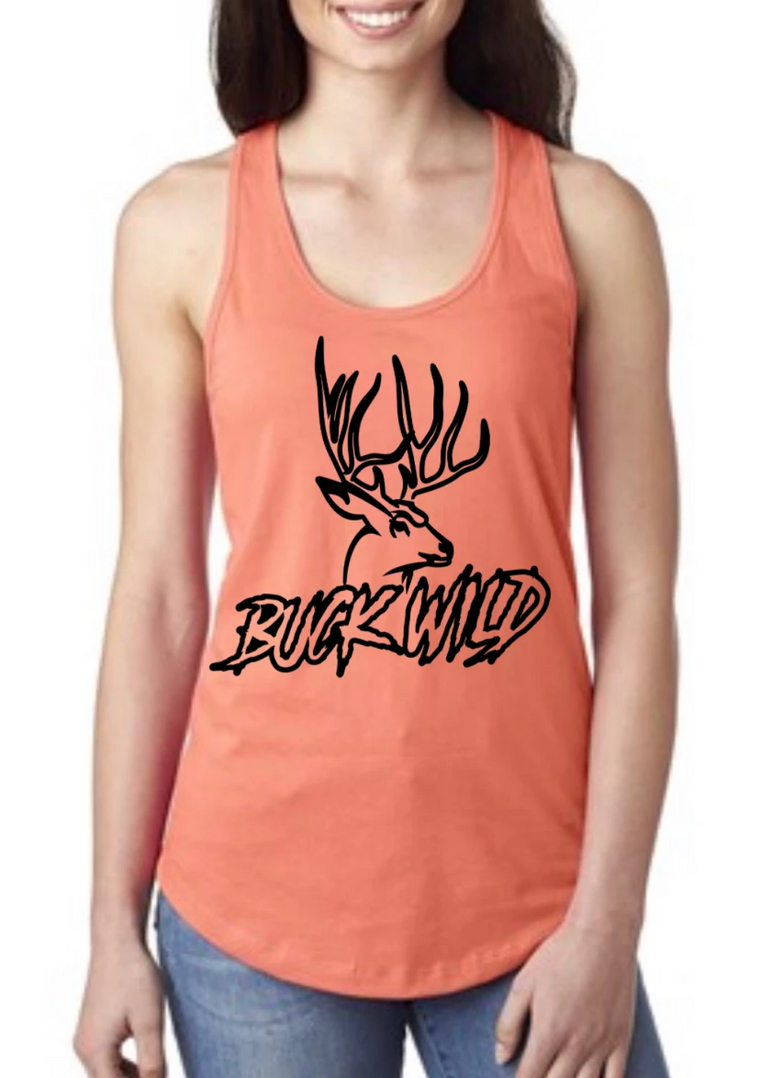 Buck Wild Racer Back Tank Tops (Assorted Colors)