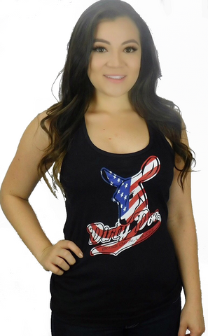 Dirty Doe  Patriotic Flag Racer Back Tank Top