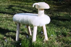 Sheep - Handmade pinewood and sheepskin sheep rockers and stools