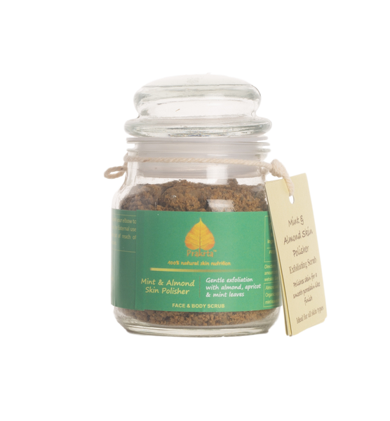 Mint & Almond Skin Polisher - Gentle exfoliation with almond, apricot and mint - Face & Body Scrub