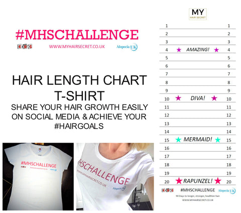 Hair length tshirt chart, measure hair length