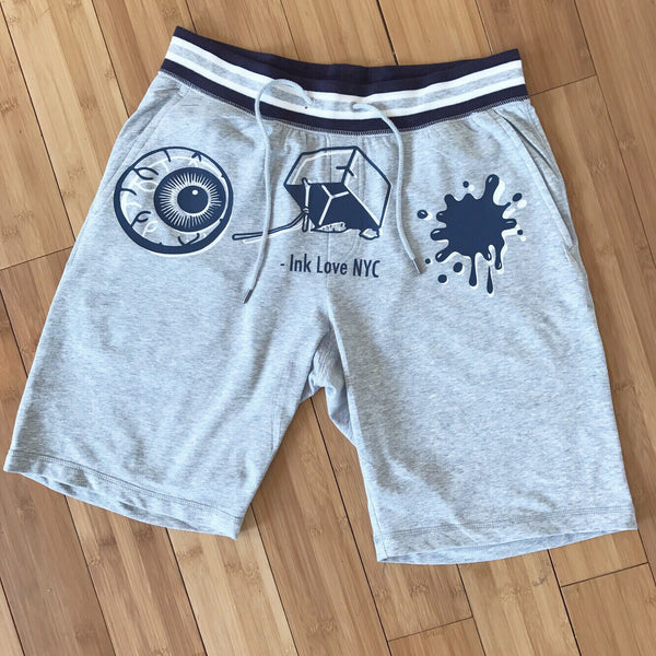 """I Trap Ink"" Shorts (Grey/White/Navy)"