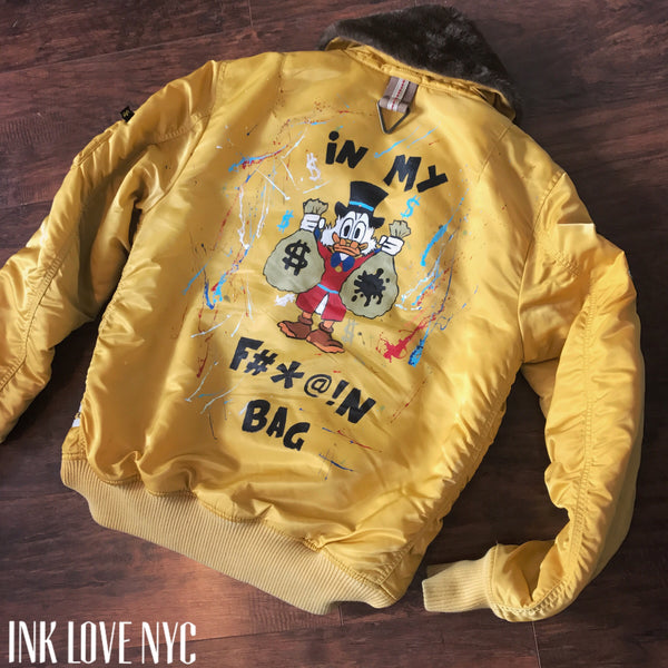 """Scrooge Mc- INK"" HandPainted Flight Jacket"