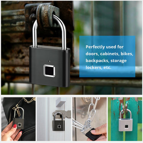 Image of Golden Security Keyless USB Rechargeable Door Lock Fingerprint Smart Padlock Quick Unlock Zinc alloy Metal Self Developing Chip