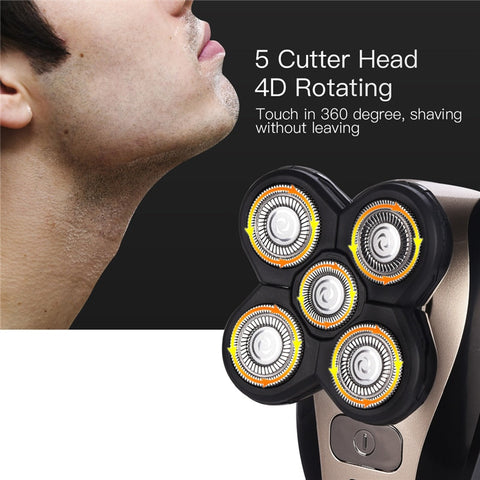 Image of 5 In 1 Men's 4D Rotary Electric Shaver Multifunction Beard Trimmer Rechargeable Razor For Men Wet/Dry Washable Shaving Machine