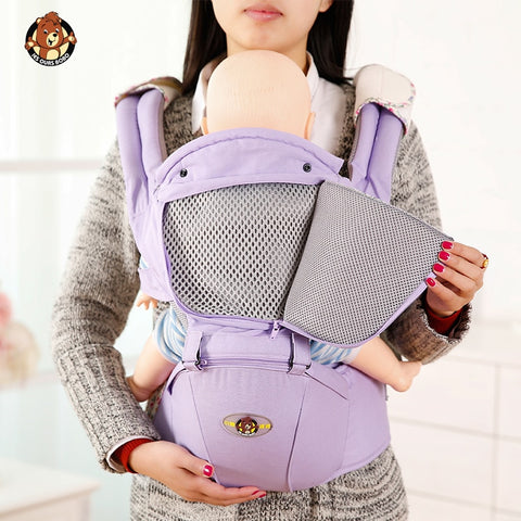 Image of AIEBAO Ergonomic Baby Carrier Infant Kid Baby Hipseat Sling Front Facing Kangaroo Baby Wrap Carrier for Baby Travel 0-36 Months