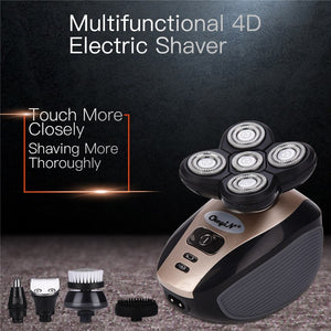 5 In 1 Men's 4D Rotary Electric Shaver Multifunction Beard Trimmer Rechargeable Razor For Men Wet/Dry Washable Shaving Machine