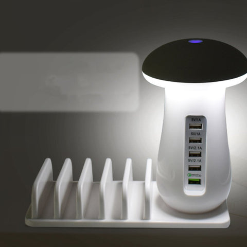 Image of USB 3.0 Quick Desk Charger LED Mushroom Night Light 5 Port Travel Charger