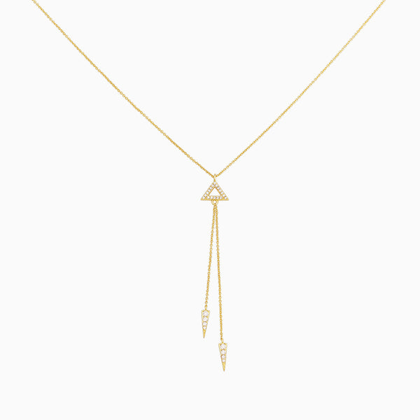 Long chain necklace 2 dangle chains hanging from a triangle pendant, created with cubic zirconia and 14k gold plating