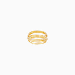 Multi-layer ring plated in 14k gold with one band lined with cubic zirconia