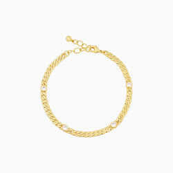 14k gold-plated curb chain bracelet with round cubic zirconia