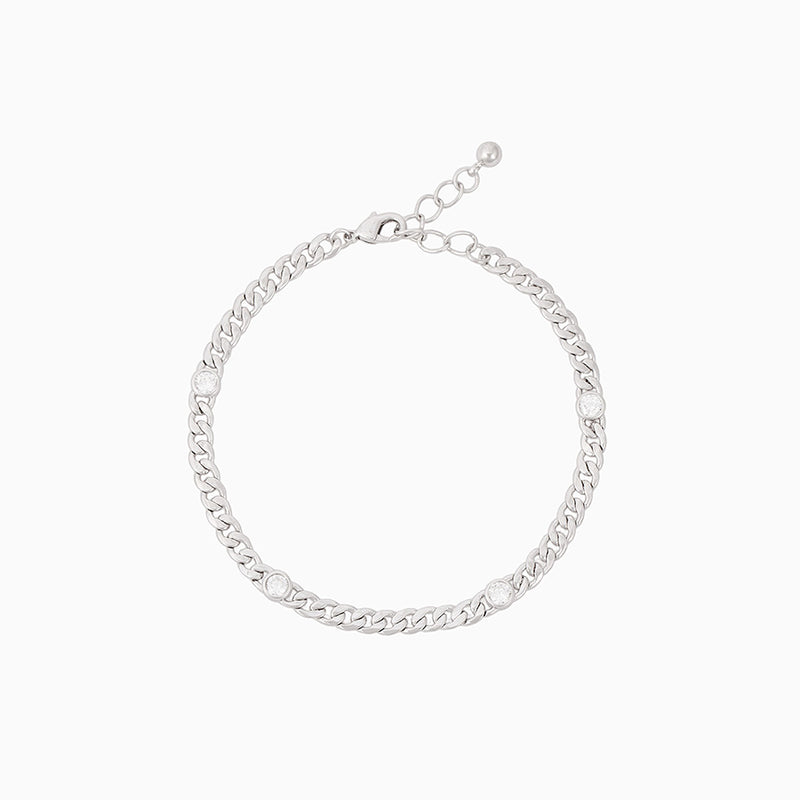Rhodium-plated curb chain bracelet with round cubic zirconia