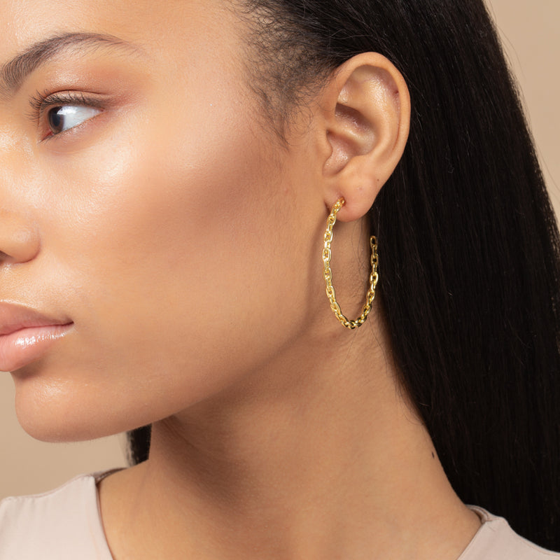 CHAIN HOOP EARRINGS MEDIUM