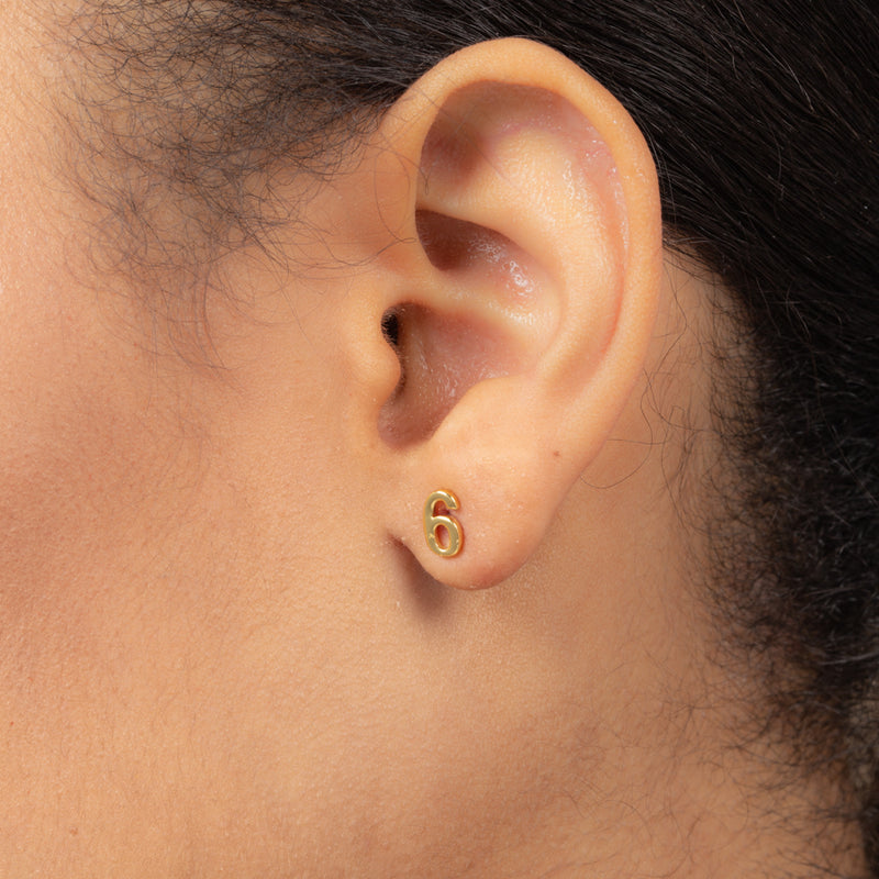 NUMBER SIX SINGLE STUD EARRING