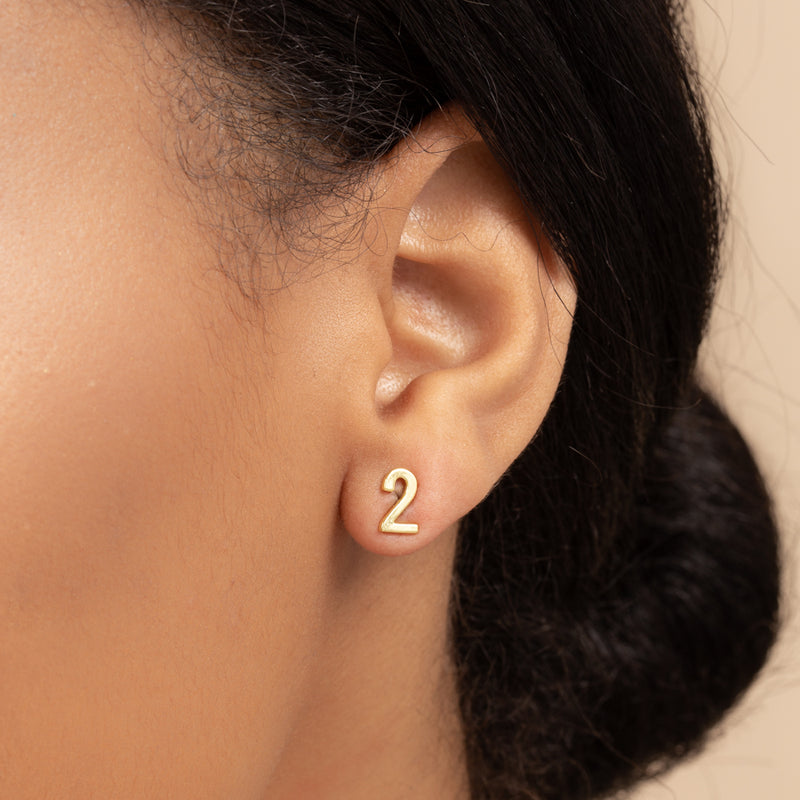NUMBER TWO SINGLE STUD EARRING