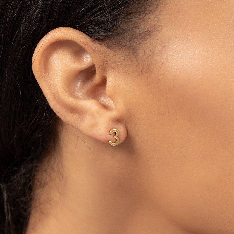 NUMBER THREE SINGLE STUD EARRING