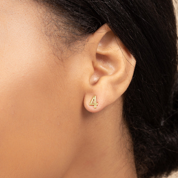 NUMBER FOUR SINGLE STUD EARRING