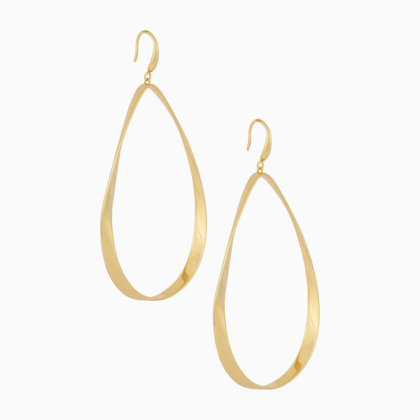 Large teardrop hoops created with 14k gold plating