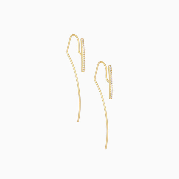 14k gold-plated earrings with earwire that continues past lobe for ear jacket style