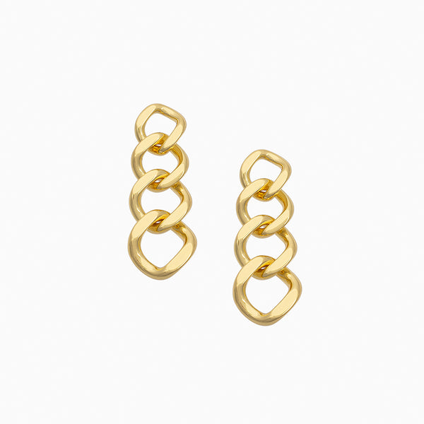 Curb chain drop earrings plated with 14k gold