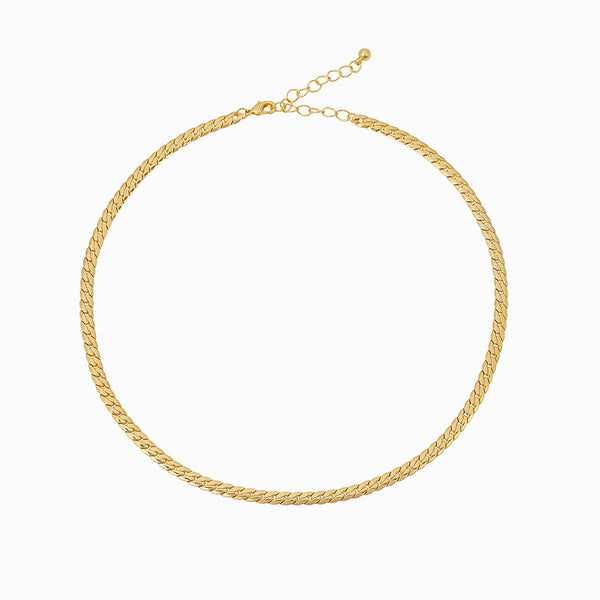 Women's cuban chain necklace plated in 14k gold