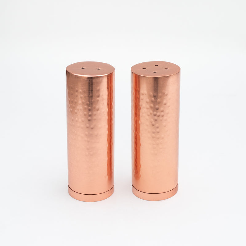 HAMMERED COPPER SALT + PEPPER SHAKERS