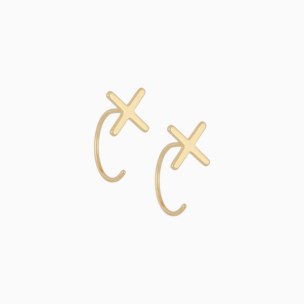 X-shaped earrings with ear jacket style, plated in 14k gold