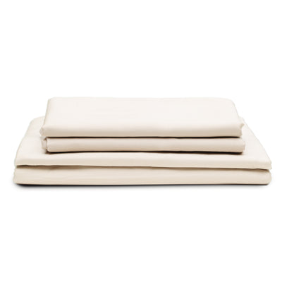 DOPLNOK-Percale-Organic-Cotton-Bed-Sheets-Beige