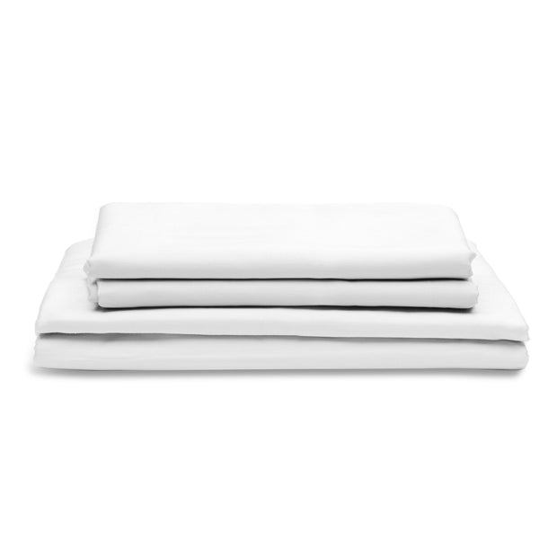DOPLNOK-Percale-Organic-Cotton-Bed-Sheets-White