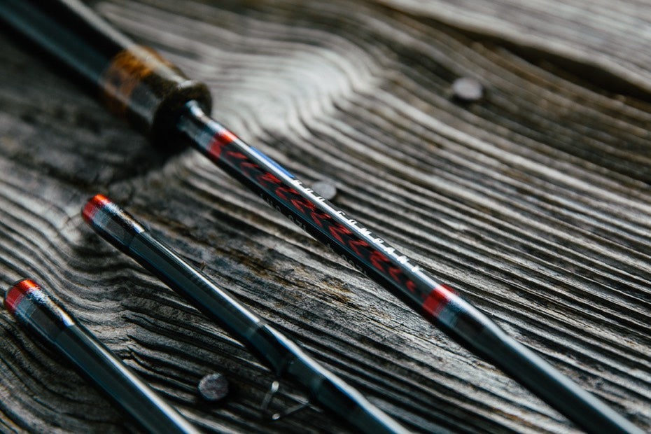 Red Fly Rod Feather Inlays
