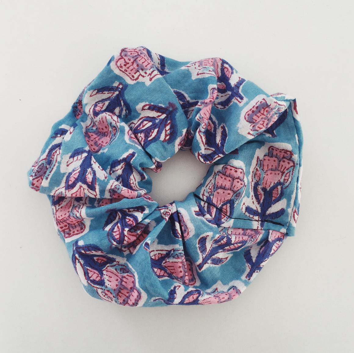 Blue Indian Print Scrunchie