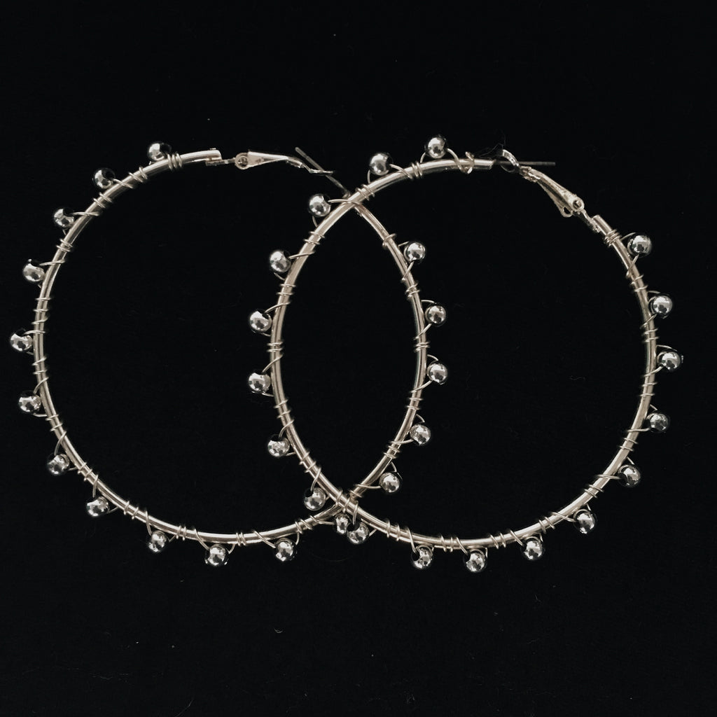 Silver Medium Hoops With Silver Bead Finish