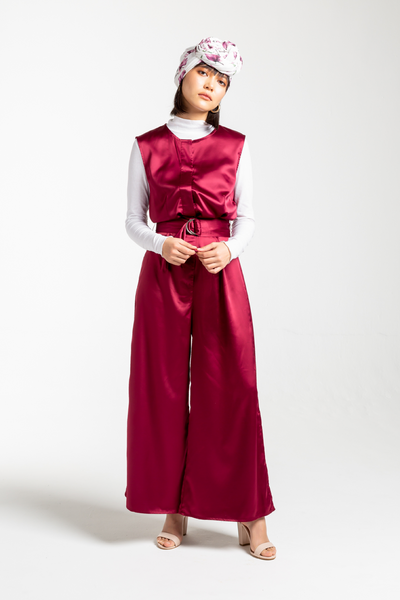 Crimson Jumpsuit - the satin jumpsuit