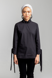 Ruffle Neck Shirt - Black