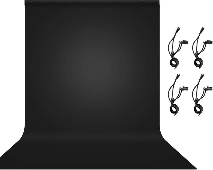 LIMOSTUDIO 6 x 9 ft. Black Backdrop, Seamless Black Screen, Photography Background, 4 x Muslin String Clips Holder Background Holders for Photo Video Studio, AGG3145