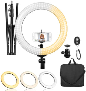 "LimoStudio LED Ring Light 18-inch Diameter with Height 71.5"" Tripod Stand, Phone Holder, Mount Adapter, Bluetooth Remote Shutter with Strap, AGG1451_V13"